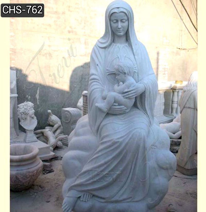 Life Size Marble Virgin Mary and Baby Jesus Statue for Sale