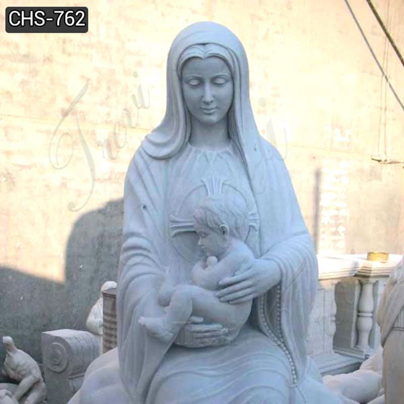 Life Size Marble Virgin Mary and Baby Jesus Statue
