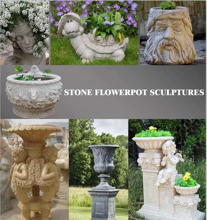 Life Size Natural Marble Flower Pot with Base from China Factory