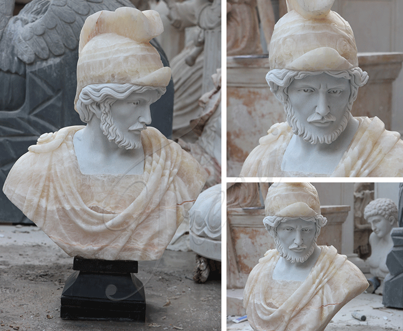 Life Size Roman Marble Bust Statue of a Man