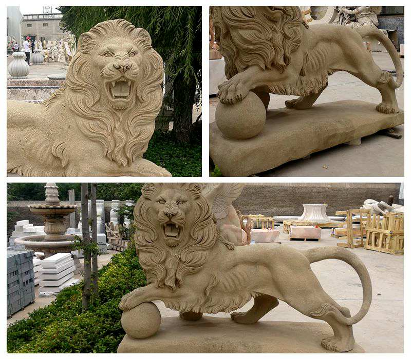 Marble Guardian Lion Statues with A Ball for sale