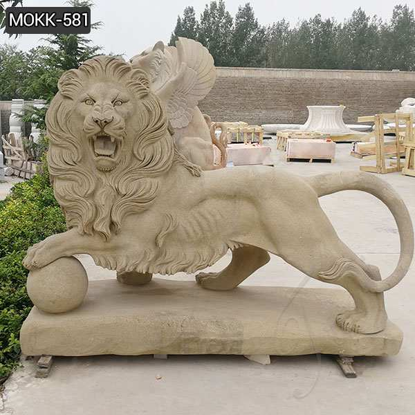 Outdoor Marble Guardian Lion Statues with A Ball for sale MOKK-581