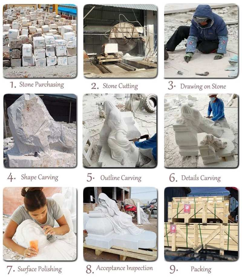 process of Handmade Famous Sphinx Marble Statue