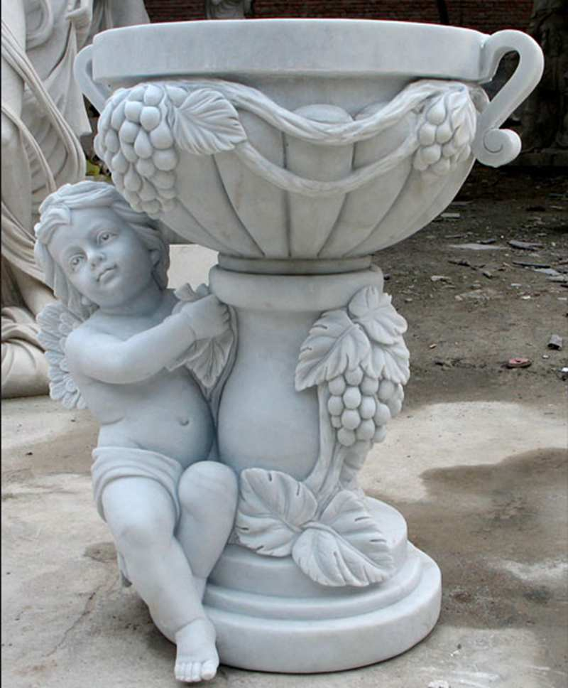 unique design cute large outdoor plant pots with round basin and cherub on stock