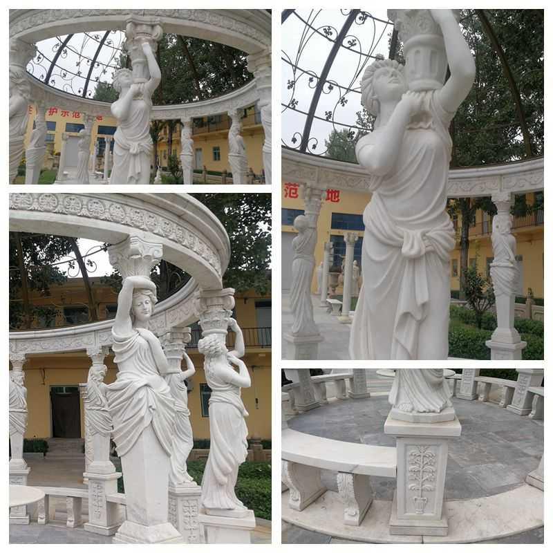 Custom Made Large White Marble Column Gazebo