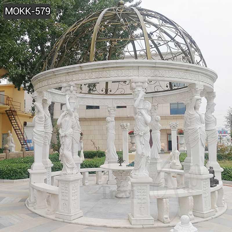 Custom Made Outdoor Large White Marble Column Gazebo