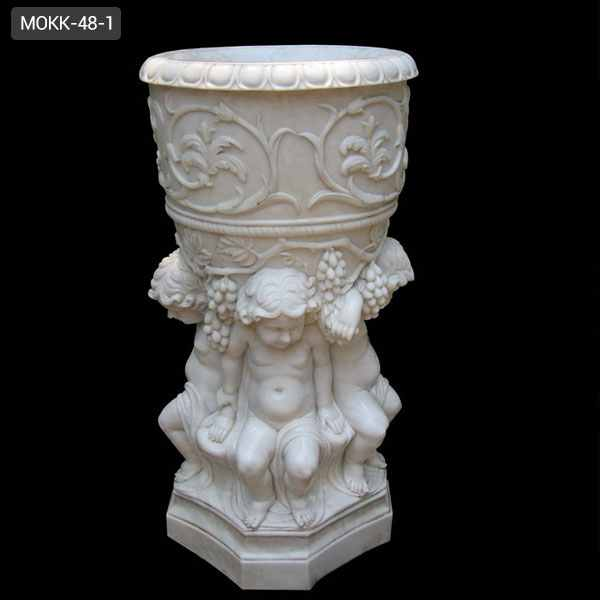 Hand Carved White Marble Flower Pot with Child Satue for Sale MOKK-48-1