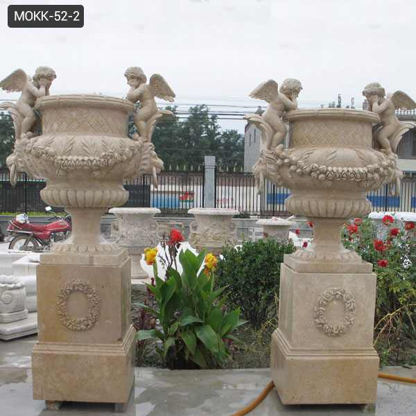 Outdoor Large Marble Plant Flower Pots with Angel Statue Supplier MOKK-52-2