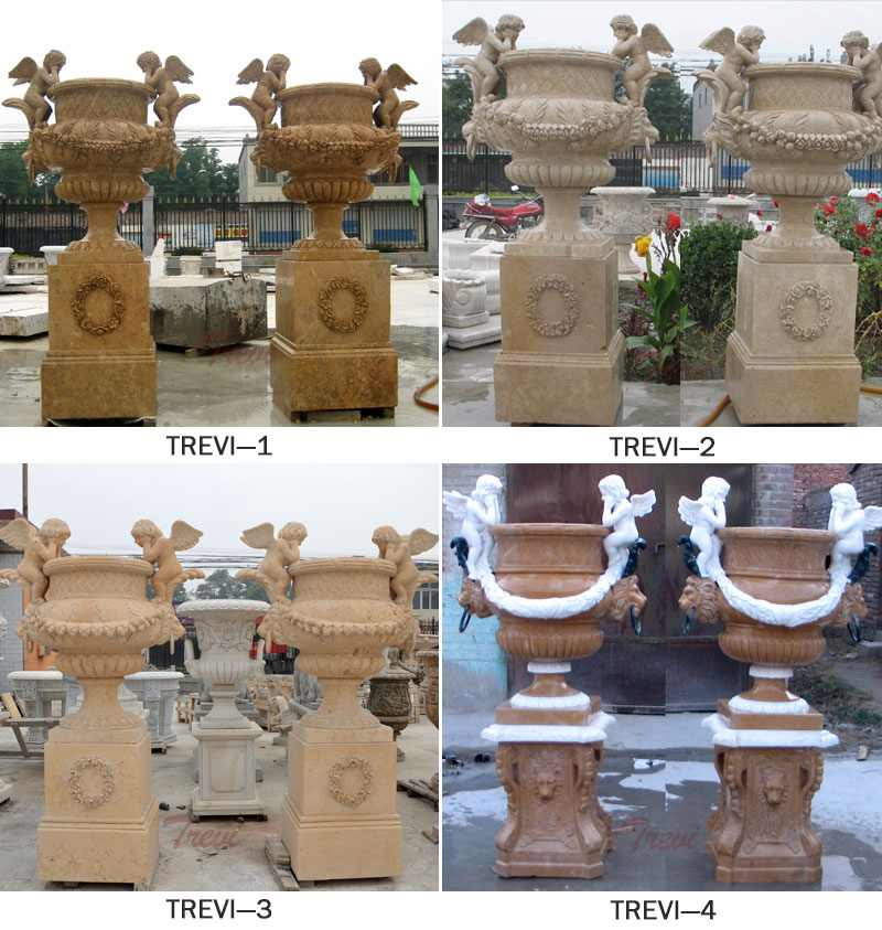 Outdoor Large Marble Plant Flower Pots with Angel Statue
