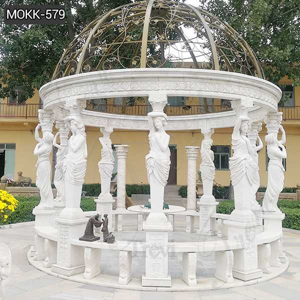 Custom Made Outdoor Large White Marble Column Gazebo MOKK-579