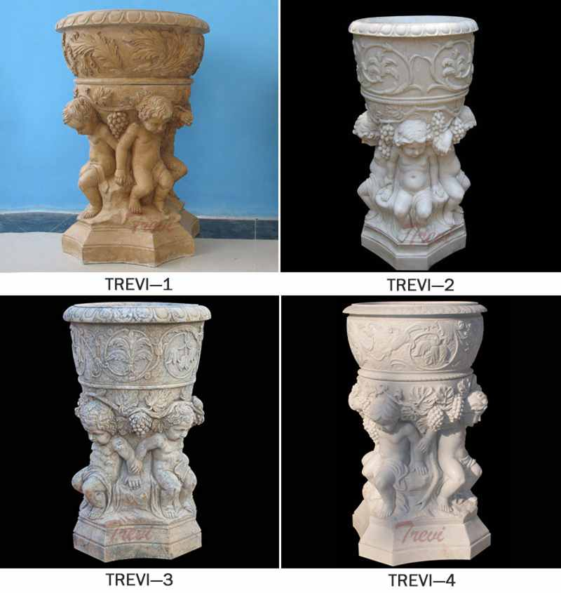 White Marble Flower Pot with Child Satue