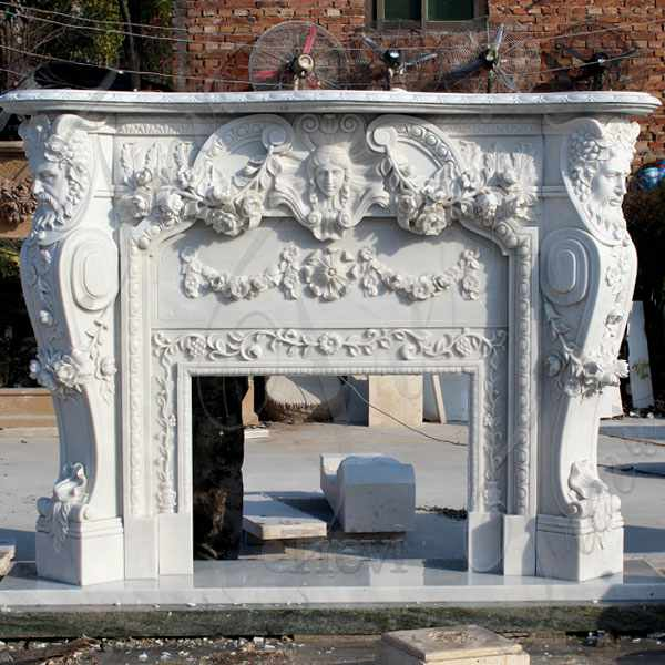 Hand Carved Exquisite Marble Fireplace Mantel with Figure Statue MOKK-106