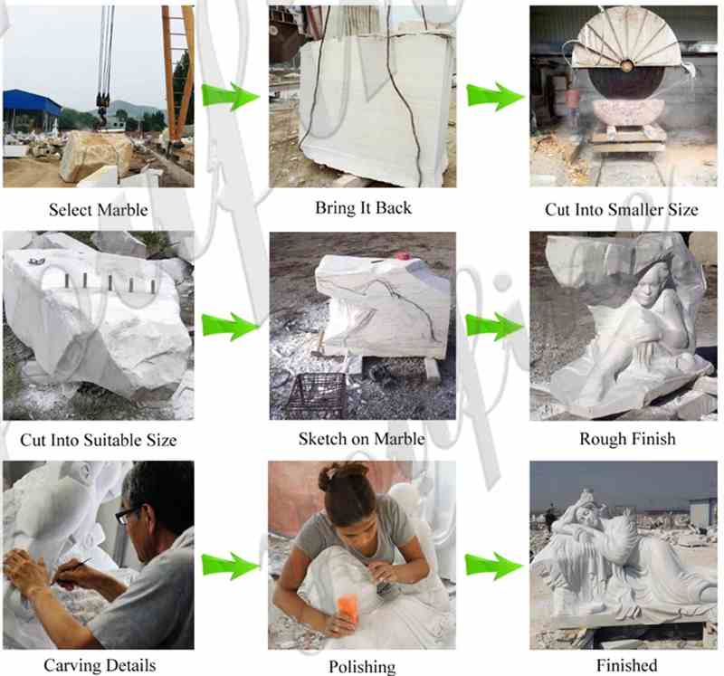 process of famous marble statue