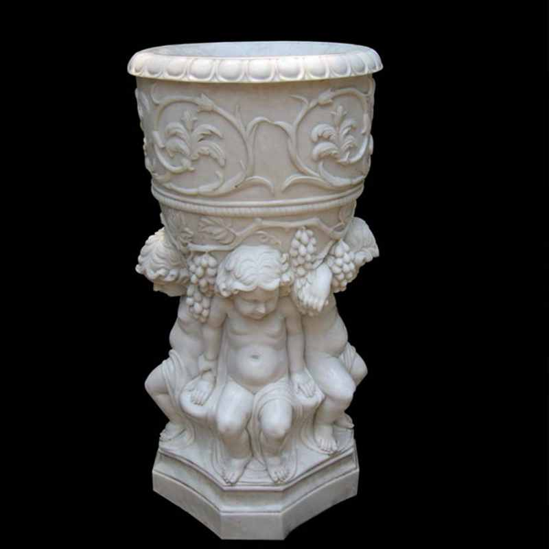 white marble flower pot decorative plant pots with luxury child figure designs round basin for sale