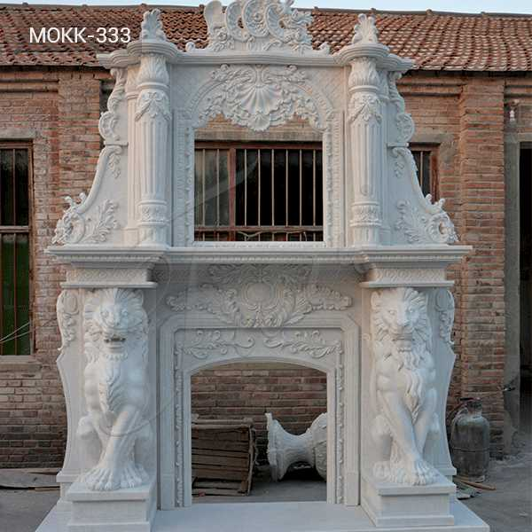 Adornment Hand Carved Double White Marble Fireplace Supplier MOKK-333