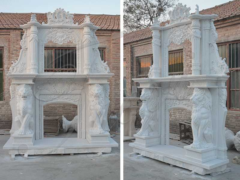 Adornment Hand Carved Double White Marble Fireplace