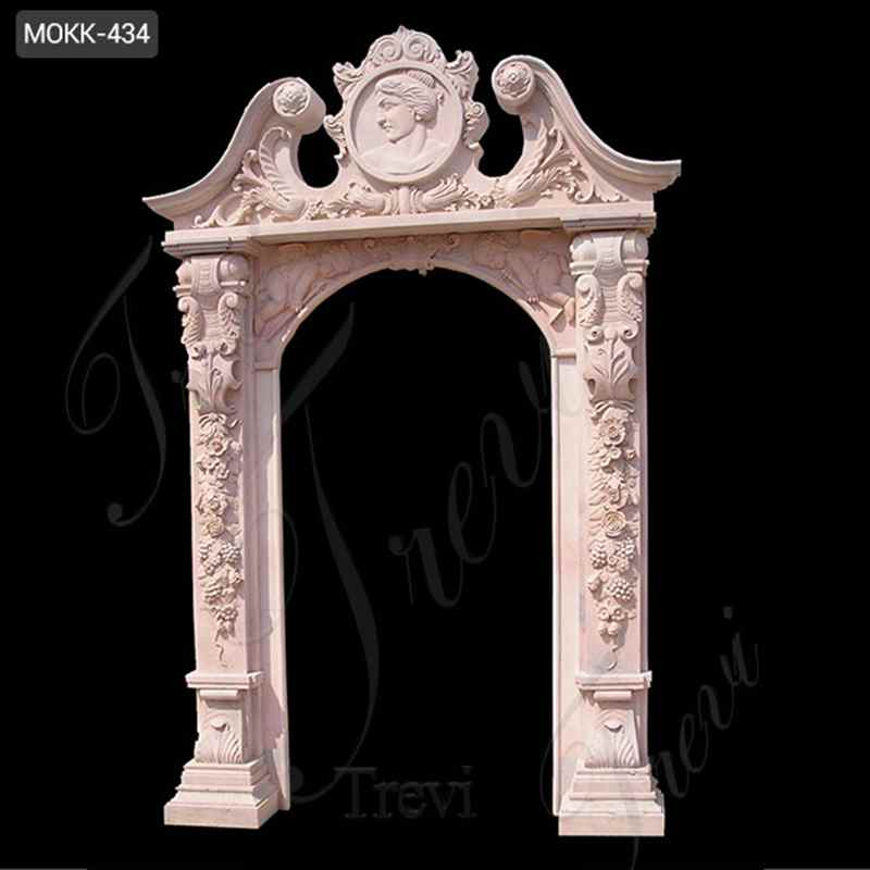 Custom Size Modern Arched Beige Marble Door Frame for sale