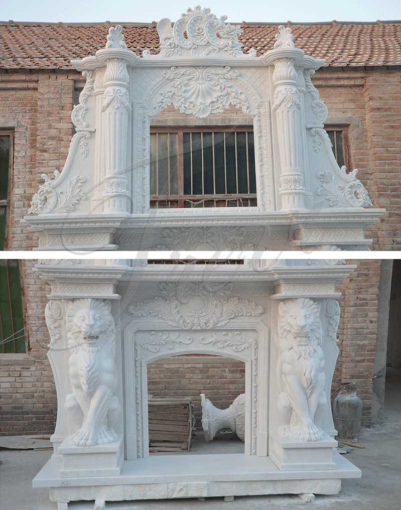 Hand Carved Double White Marble Fireplace