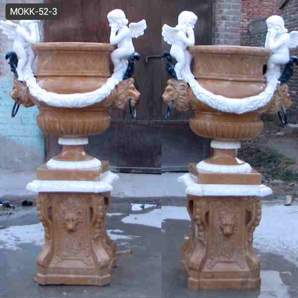 Hand Carved Large Natural Marble Planters with Angel Statue for Sale MOKK-52-3