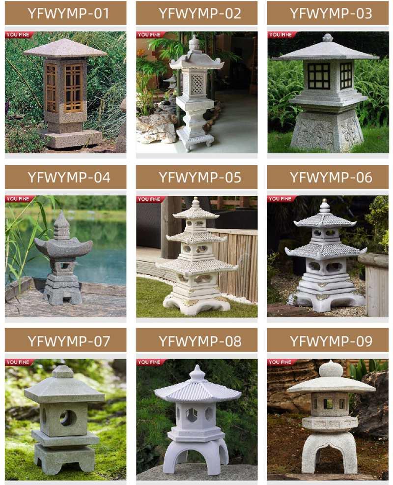 Japanese Granite Garden Lamp Decor for Sale