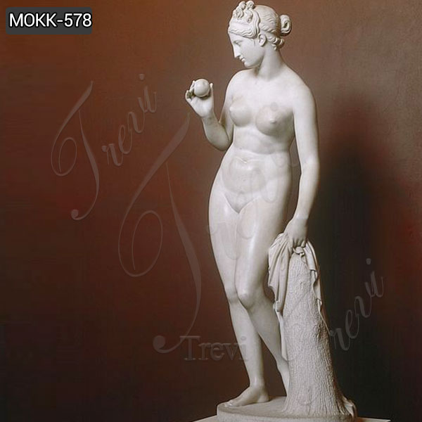 Marble Statue of Venus with an Apple by Bertel Thorvaldsen for Sale