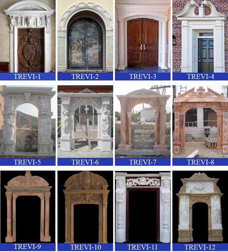 Modern Arched Beige Marble Door Frame