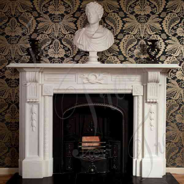 Hand Carved White Marble Georgian Fireplace Mantels and Surrounds for Sale MOKK-138