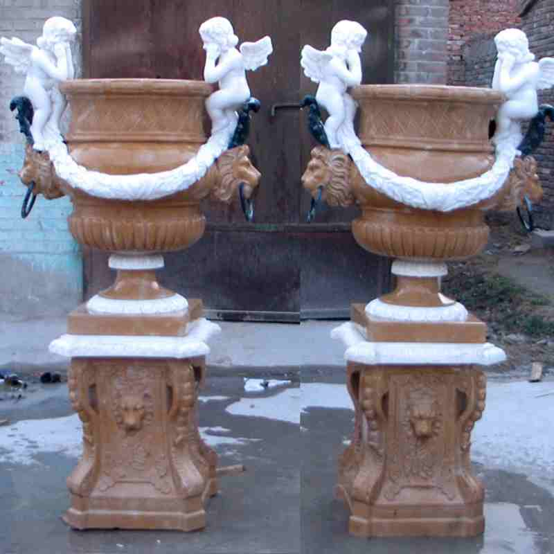 hand carved outdoor natural marble planter with cherub for garden for sales