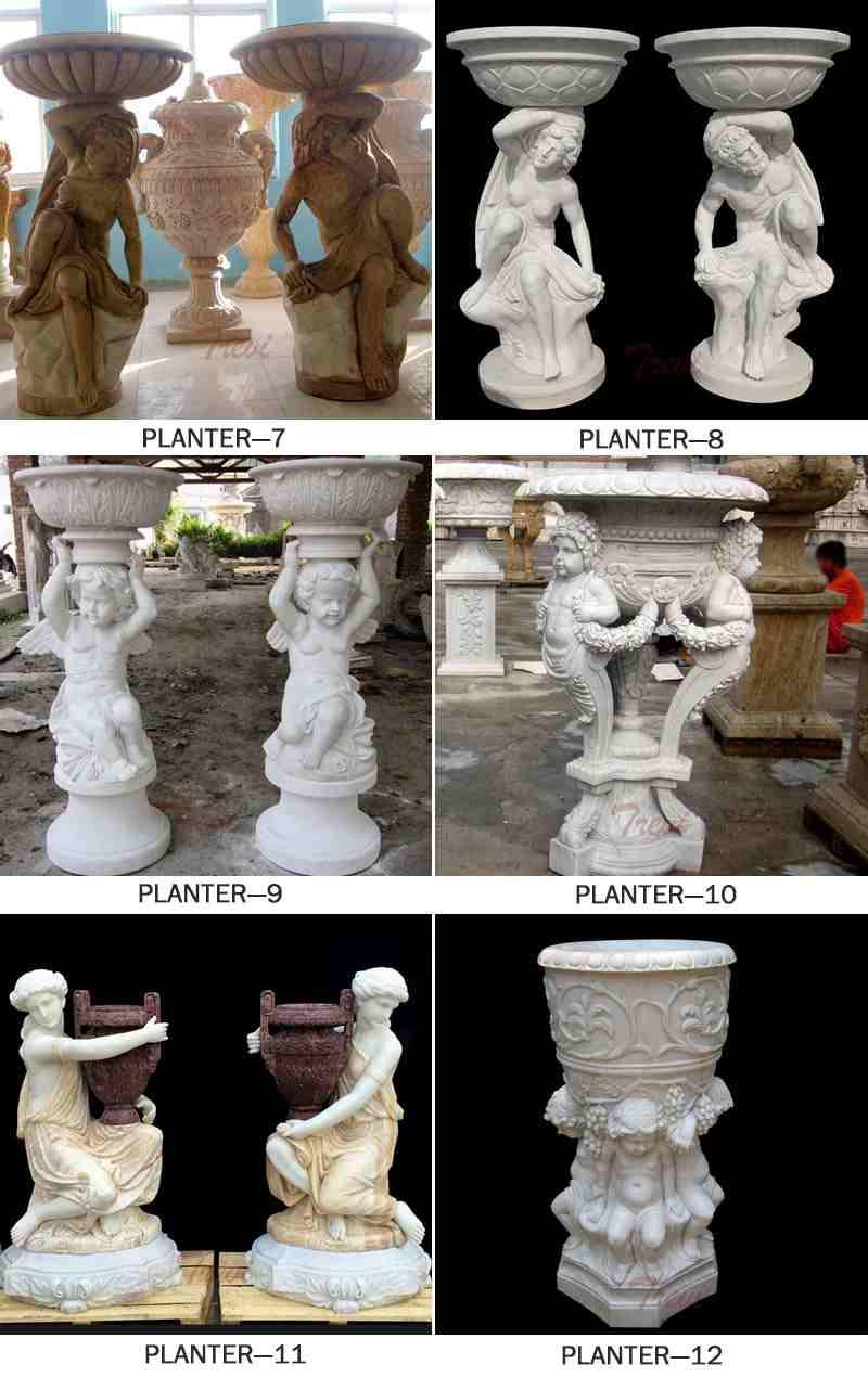 natural marble flower pot