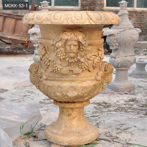 Antique Decorative Large Yellow Marble Flower Pot Supplier MOKK-53-1