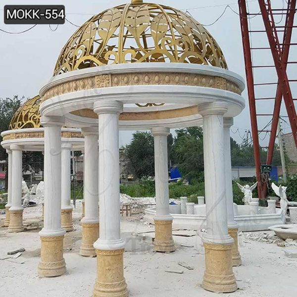 Beautiful Large White Marble Pillar Pavilion with Yellow Iron Top Supplier MOKK-554