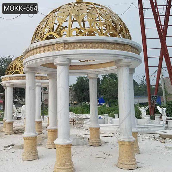 Beautiful Large White Marble Pillar Pavilion with Yellow Iron Top Supplier MOKK-554