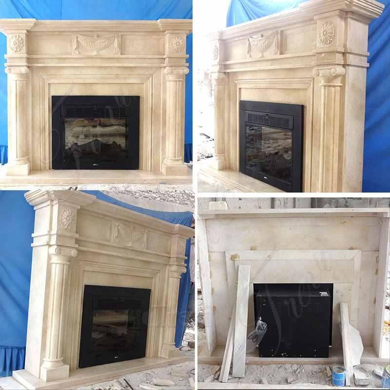 Decorative Beige Marble Fireplace Mantel