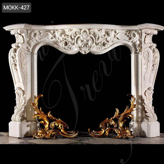 Exquisite Hand Carved White Marble French Fireplace Mantel Manufacturer MOKK-427
