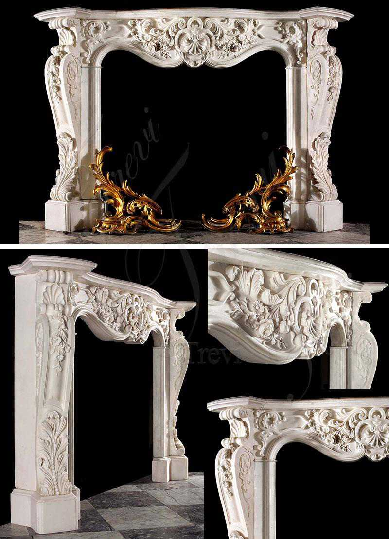 Exquisite Hand Carved White Marble French Fireplace Mantel