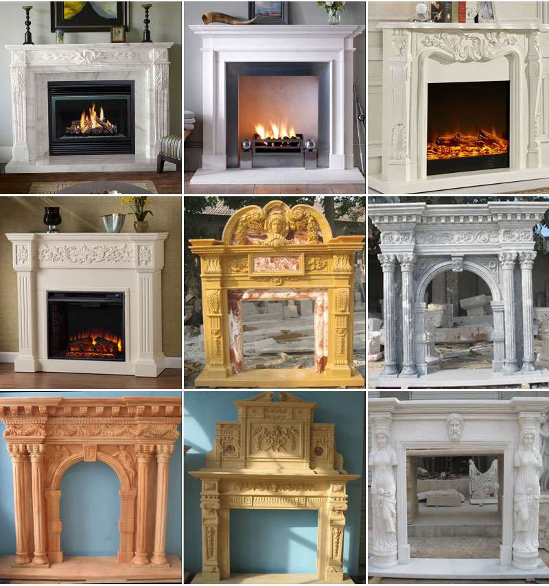 Hand Carved White Marble Fireplace Mantels