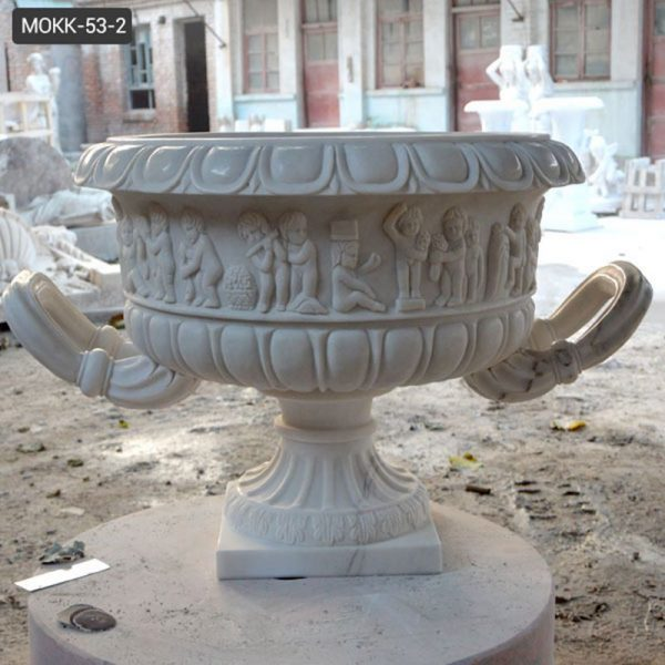 Hand Carved White Marble Plant Pot with Big Basin for Sale MOKK-53-2