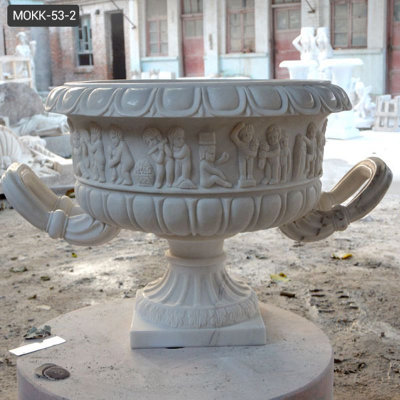 Hand Carved White Marble Plant Pot with Big Basin for Sale