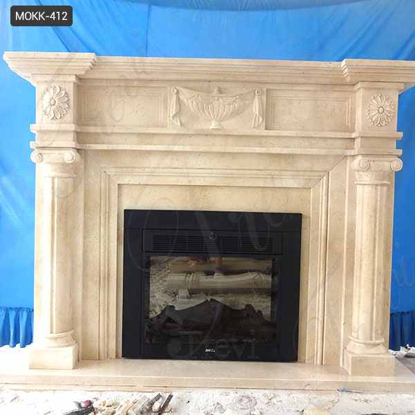 Hand Made Decorative Beige Marble Fireplace Mantel Supplier MOKK-412