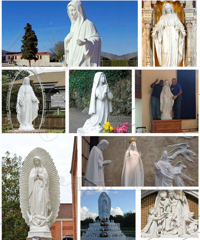 Life Size White Marble Our Lady of Mary Statue for Sale