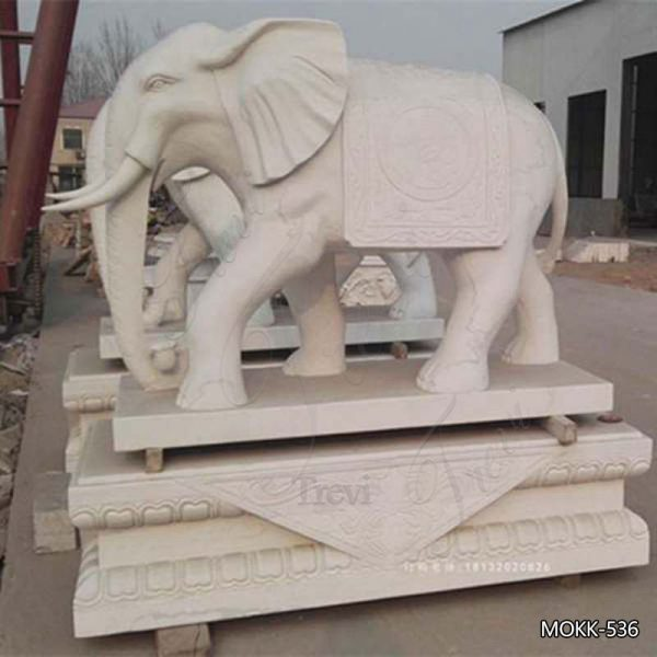 Outdoor Large Size White Marble Elephant Sculpture for Sale MOKK-536