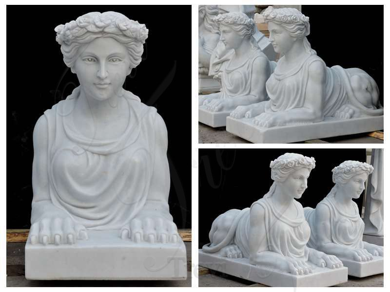 White Marble Egyptian Sphinx Statues