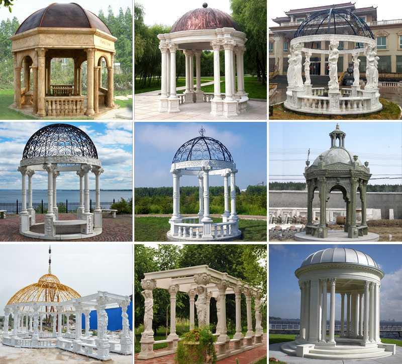 White Marble Pillar Pavilion with Yellow Iron Top Supplier