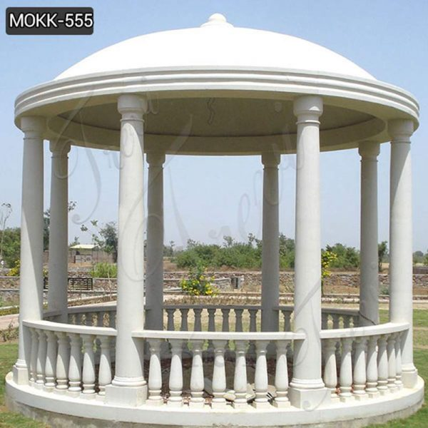 Beautiful Pure White Marble Column Gazebo for Outdoor Decor Supplier MOKK-555