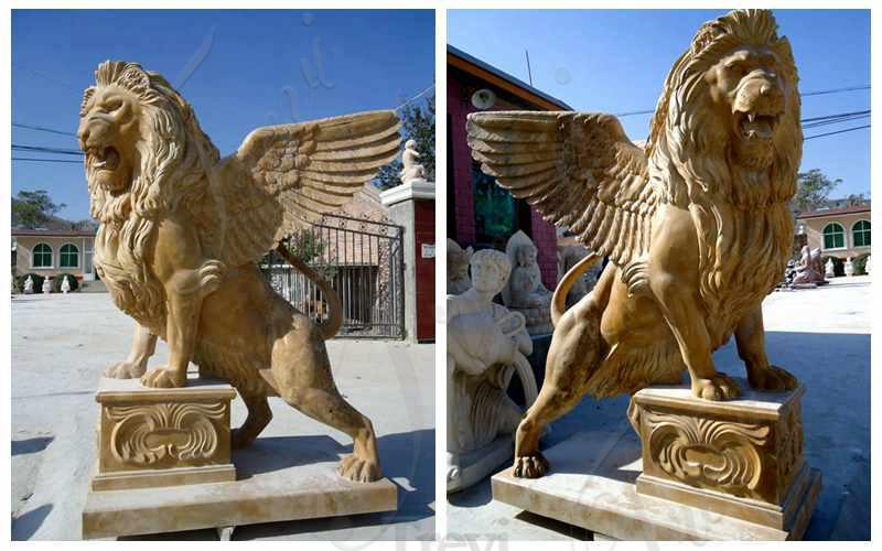Beige Marble Standing Winged Lion Sculpture