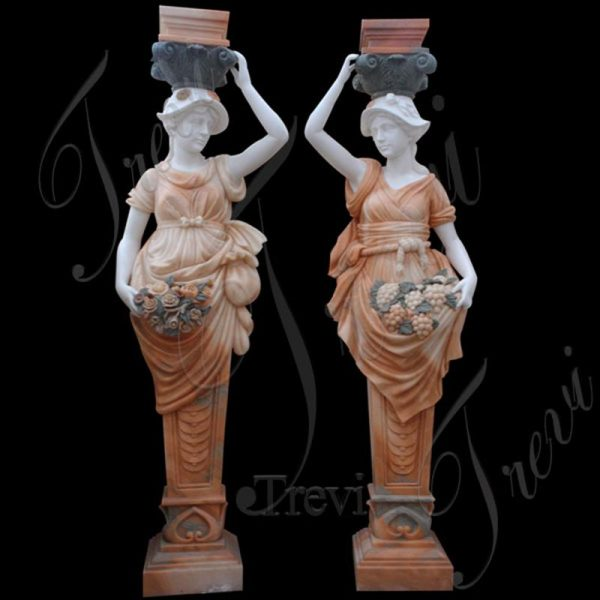 Classic Beige Marble Columns with Beautiful Lady Statues MOKK-167
