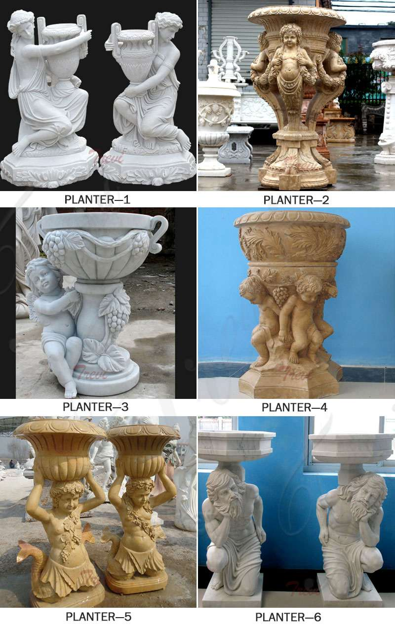 Marble Stone Flower Pots with Figure on Sale