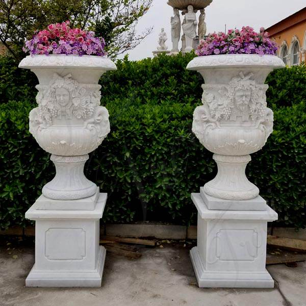 Pair of Marble Stone Flower Pots with Figure on Sale MOKK-56