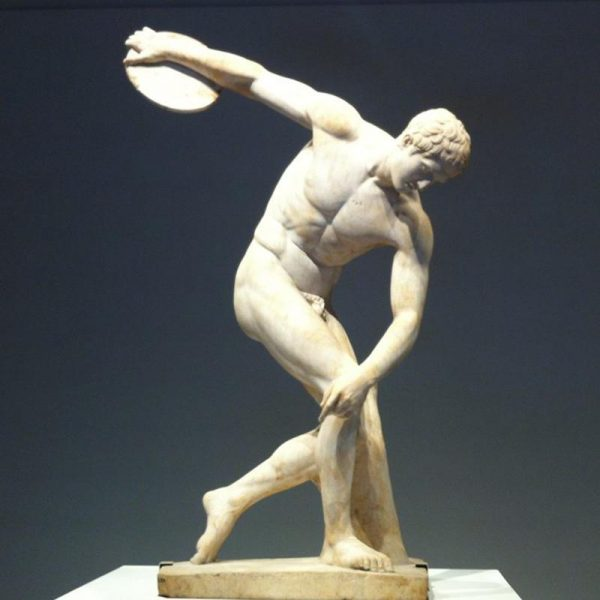 Greek Art The Discus Thrower Marble Garden Statue MOKK-220