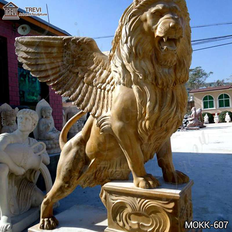 Western Beige Marble Standing Winged Lion Sculpture for Sale
